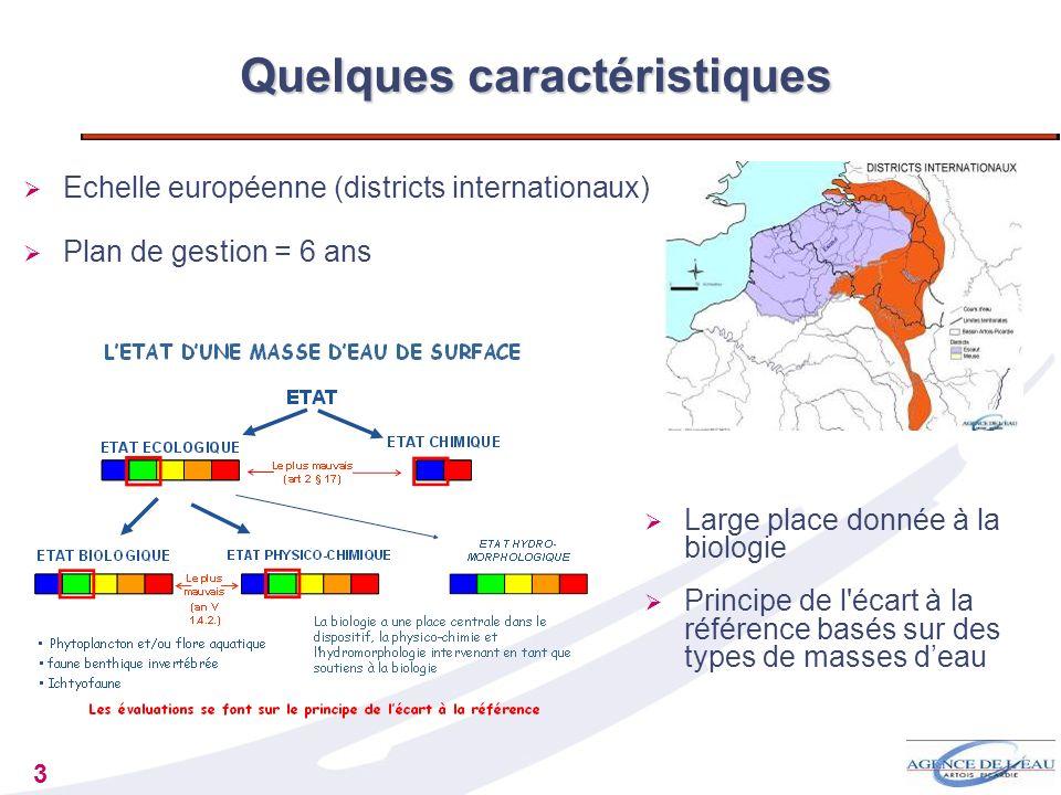 3 Quelques caractéristiques Large place donnée à la biologie Principe de l'écart à la référence basés sur des types de masses deau Echelle européenne