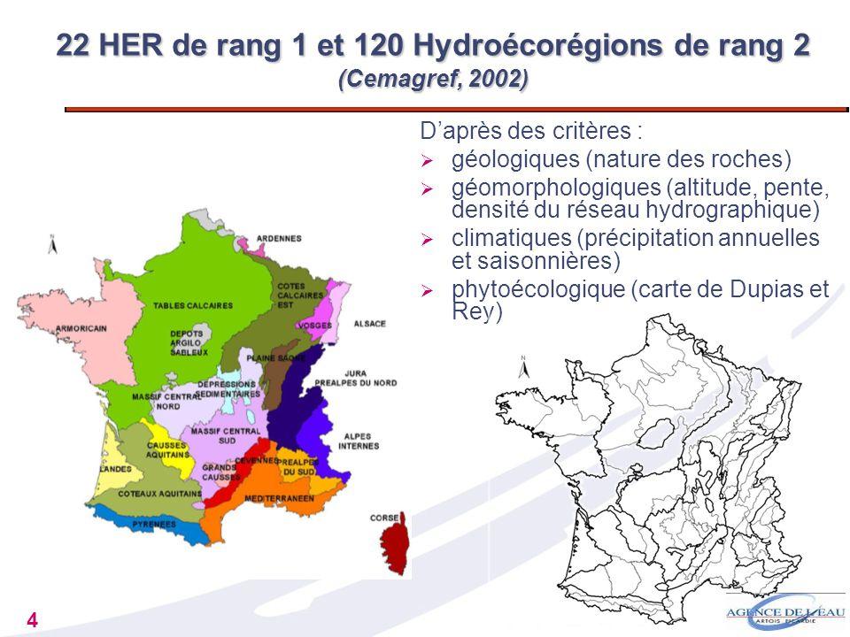 4 Daprès des critères : géologiques (nature des roches) géomorphologiques (altitude, pente, densité du réseau hydrographique) climatiques (précipitati