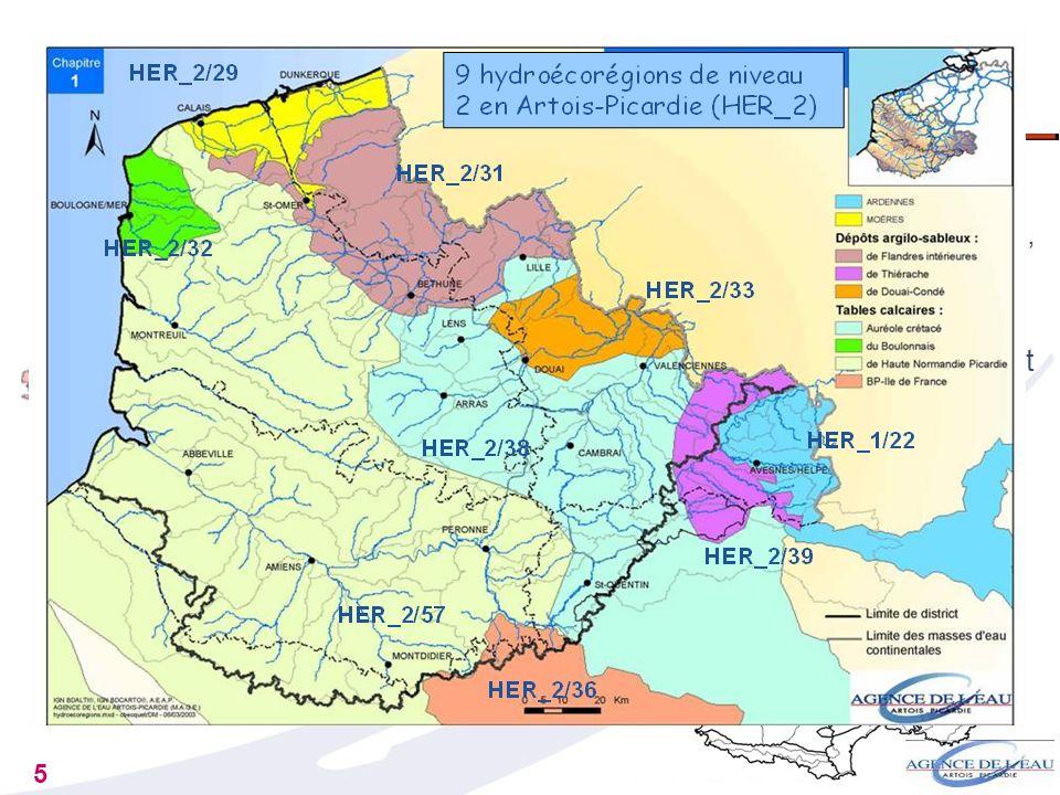5 Daprès des critères : géologiques (nature des roches) géomorphologiques (altitude, pente, densité du réseau hydrographique) climatiques (précipitati