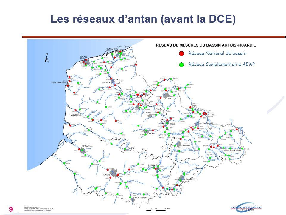 9 Réseau National de bassin Réseau Complémentaire AEAP Les réseaux dantan (avant la DCE)