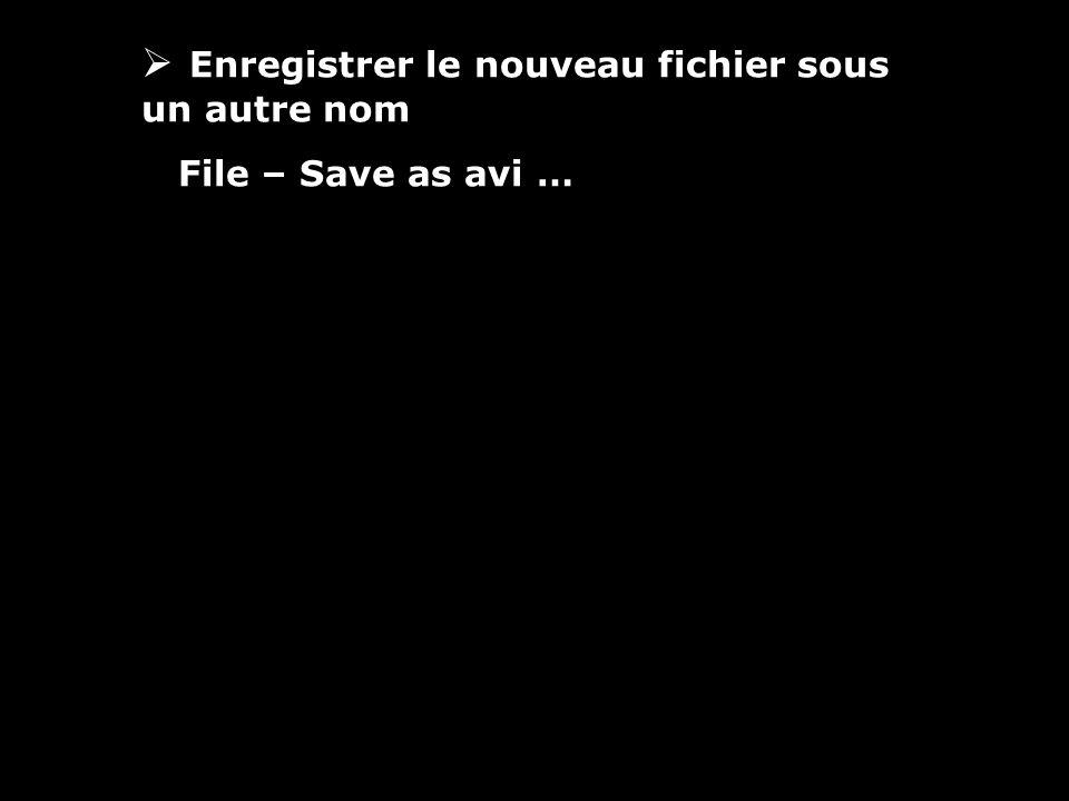 Enregistrer le nouveau fichier sous un autre nom File – Save as avi …