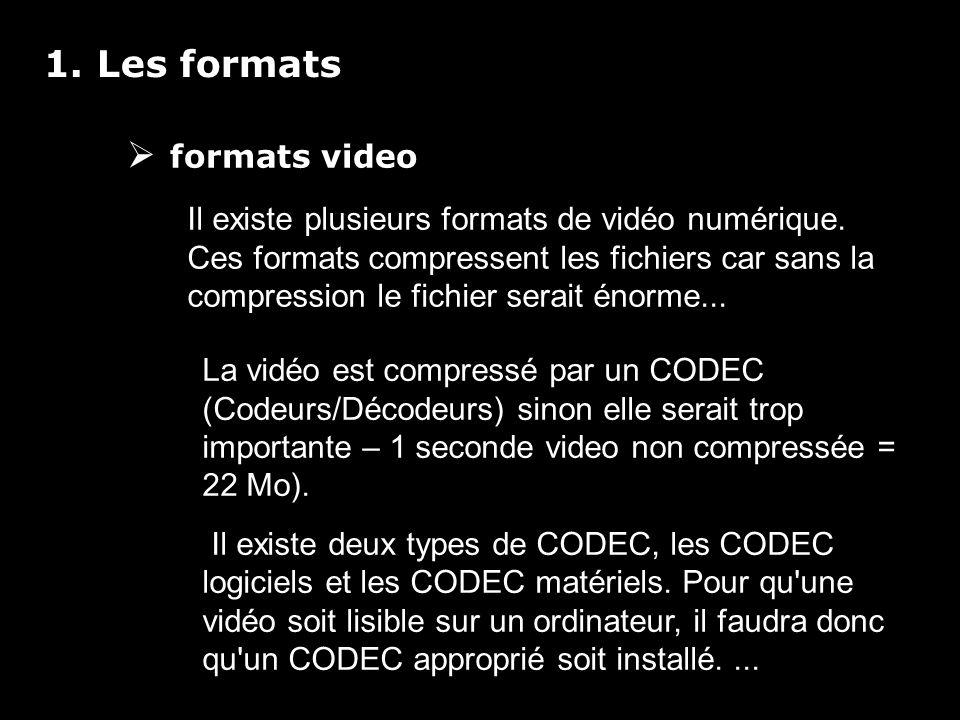 1. Les formats formats video Il existe plusieurs formats de vidéo numérique.