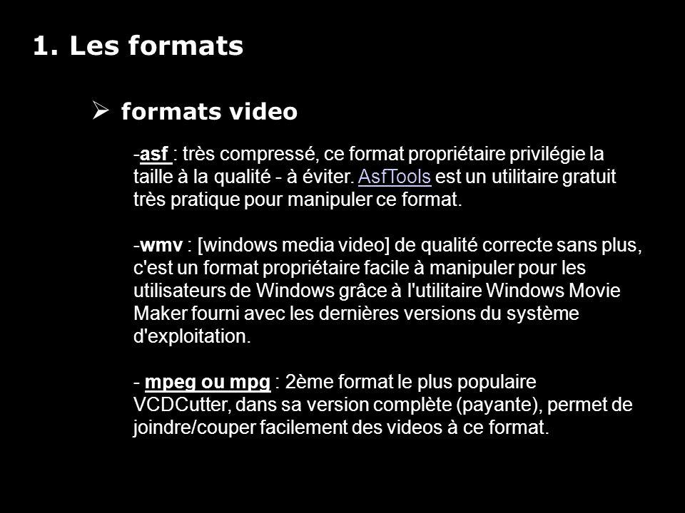 1. Les formats formats video -asf : très compressé, ce format propriétaire privilégie la taille à la qualité - à éviter. AsfTools est un utilitaire gr