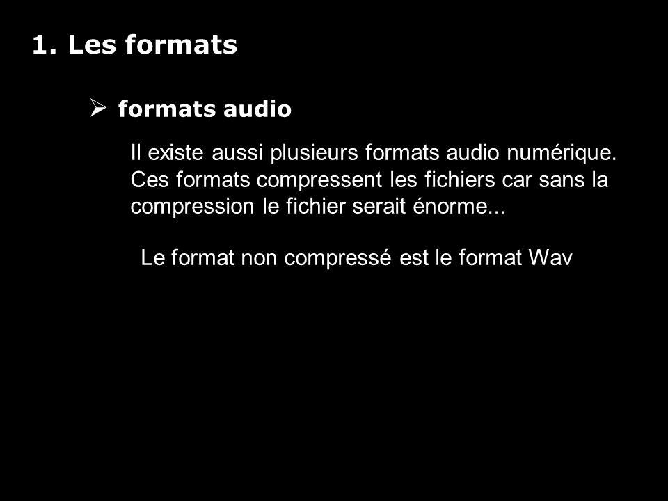 1. Les formats formats audio Il existe aussi plusieurs formats audio numérique.