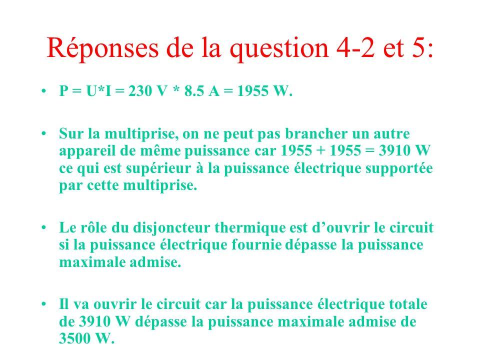 Réponses de la question 4-2 et 5: P = U*I = 230 V * 8.5 A = 1955 W. Sur la multiprise, on ne peut pas brancher un autre appareil de même puissance car