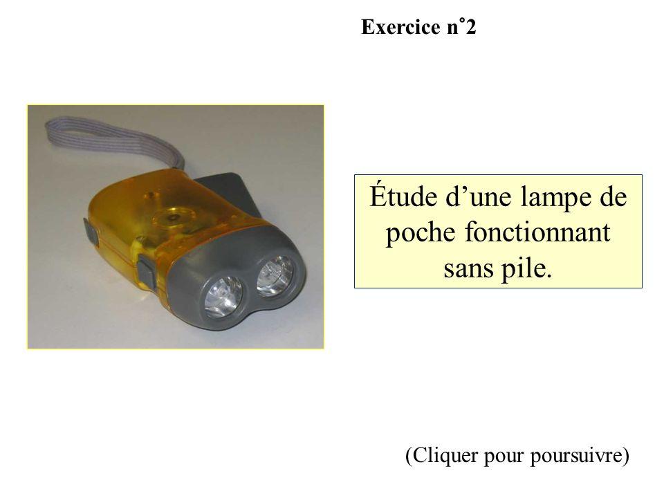 (Cliquer pour poursuivre) Étude dune lampe de poche fonctionnant sans pile. Exercice n°2