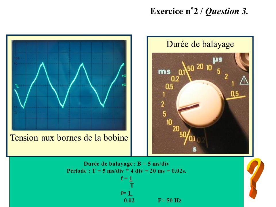Durée de balayage Tension aux bornes de la bobine Exercice n°2 / Question 3. Durée de balayage : B = 5 ms/div Période : T = 5 ms/div * 4 div = 20 ms =