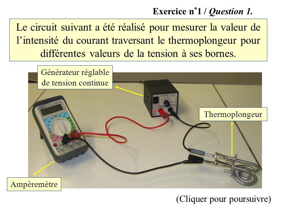 Le circuit suivant a été réalisé pour mesurer la valeur de lintensité du courant traversant le thermoplongeur pour différentes valeurs de la tension à