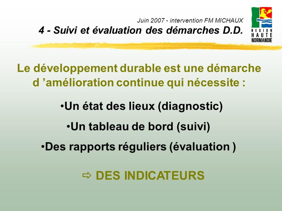 Juin 2007 - intervention FM MICHAUX 4 - Suivi et évaluation des démarches D.D. Le développement durable est une démarche d amélioration continue qui n