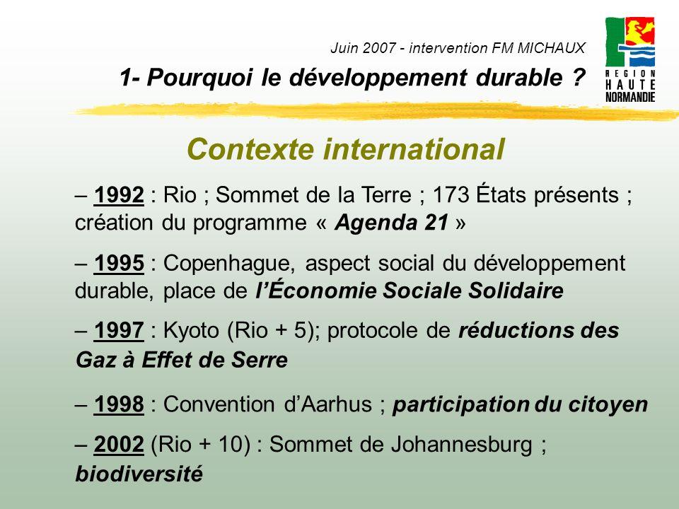 Juin 2007 - intervention FM MICHAUX 1- Pourquoi le développement durable ? – 1992 : Rio ; Sommet de la Terre ; 173 États présents ; création du progra
