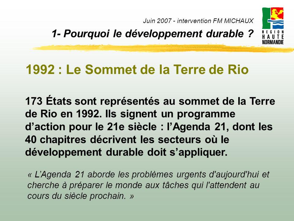 Juin 2007 - intervention FM MICHAUX 1- Pourquoi le développement durable ? 173 États sont représentés au sommet de la Terre de Rio en 1992. Ils signen