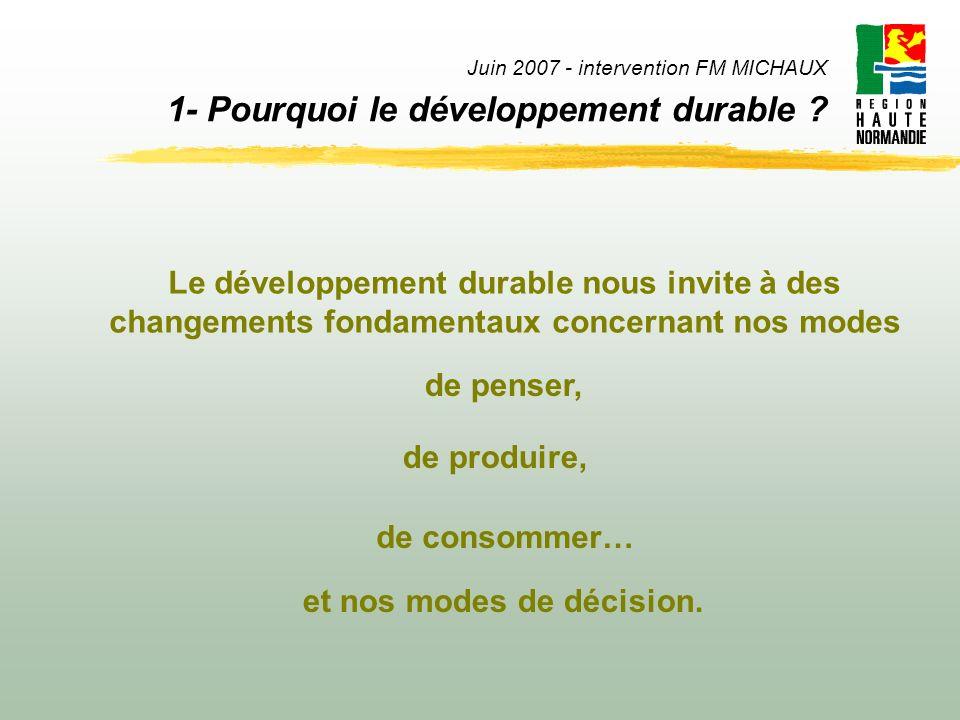 Juin 2007 - intervention FM MICHAUX 1- Pourquoi le développement durable ? Le développement durable nous invite à des changements fondamentaux concern
