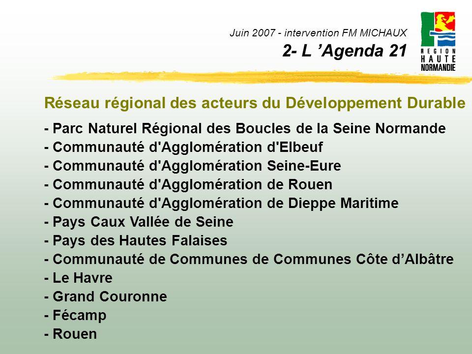 Juin 2007 - intervention FM MICHAUX 2- L Agenda 21 Réseau régional des acteurs du Développement Durable - Parc Naturel Régional des Boucles de la Sein