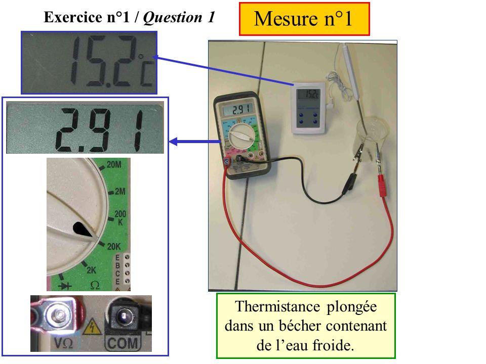 Exercice n°1 Le thermomètre électronique fonctionne à laide dune thermistance C.T.N. On mesure la valeur de la résistance de la thermistance pour diff