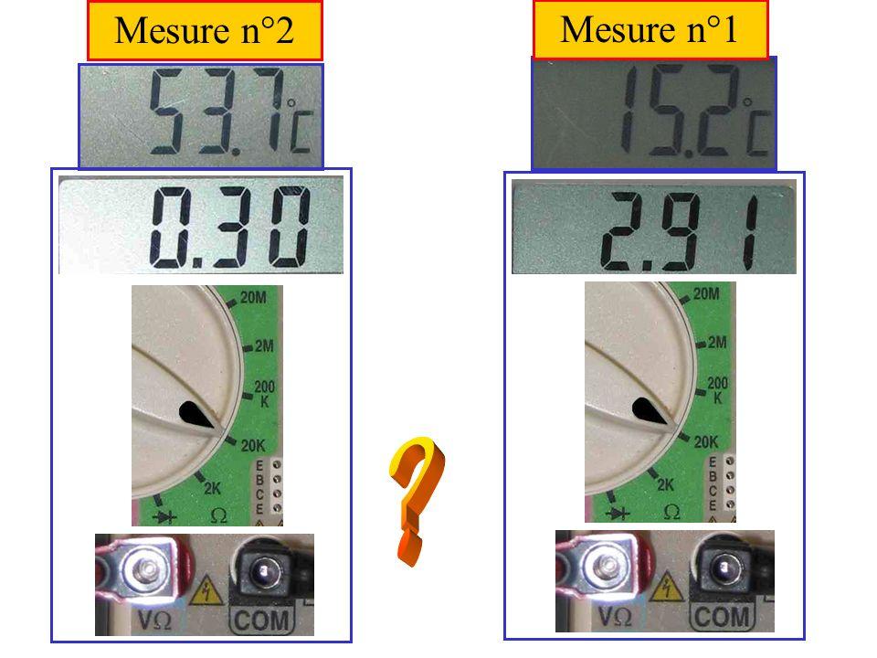 Exercice n°1 / Question 1 Mesure n°2 Thermistance plongée dans un bécher contenant de leau chaude.