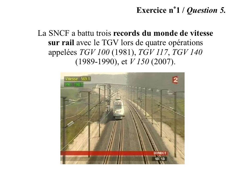 Exercice n°1 / Question 4. A B C D E Voici maintenant quelques photographies prises lors du déplacement dun véhicule.