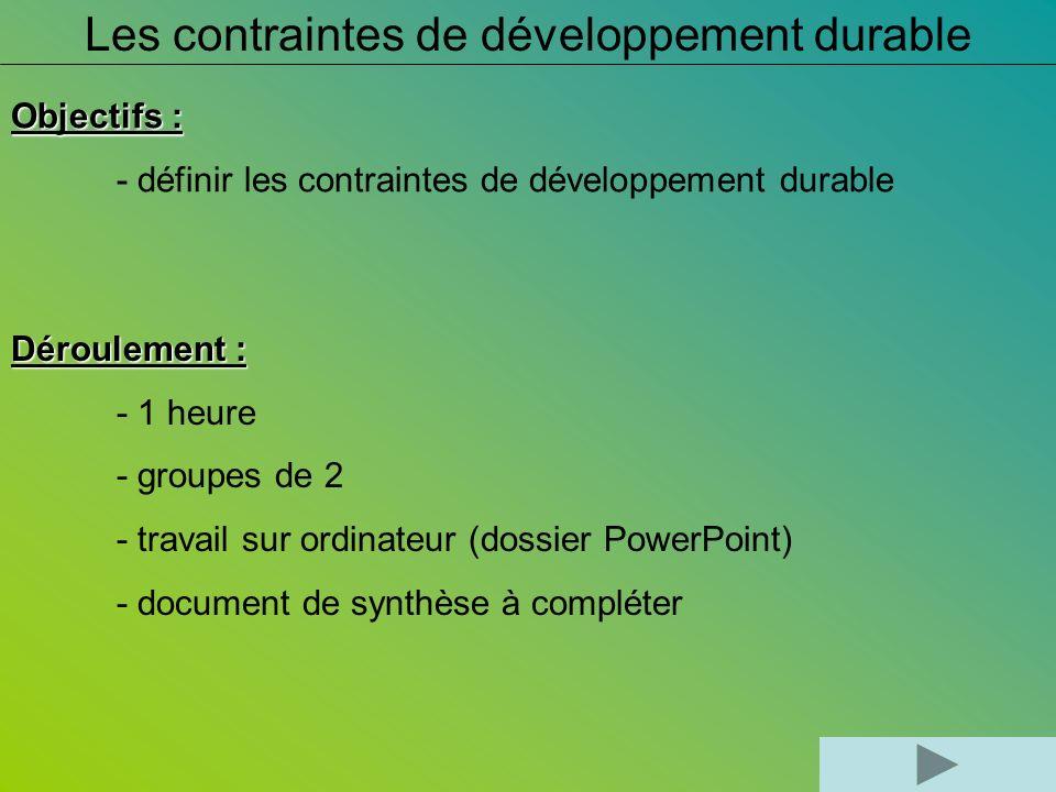 Les contraintes de développement durable Objectifs : - définir les contraintes de développement durable Déroulement : - 1 heure - groupes de 2 - trava