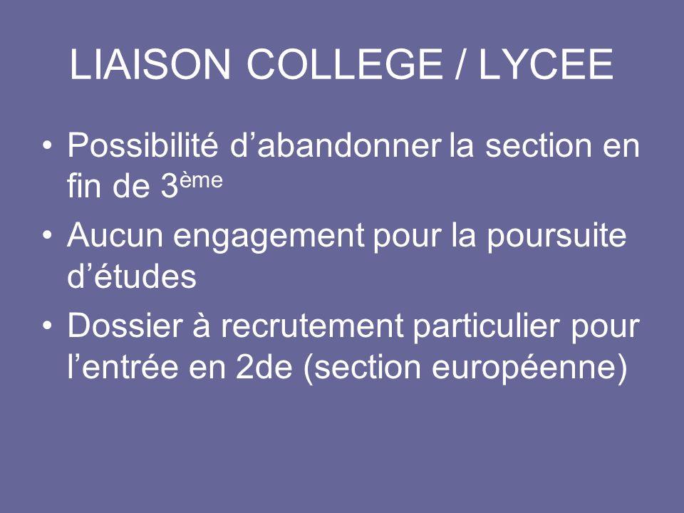 LIAISON COLLEGE / LYCEE Possibilité dabandonner la section en fin de 3 ème Aucun engagement pour la poursuite détudes Dossier à recrutement particulie