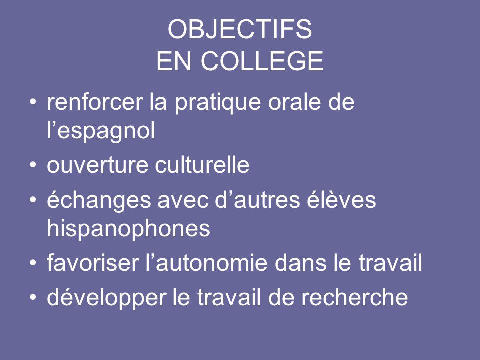 OBJECTIFS EN COLLEGE renforcer la pratique orale de lespagnol ouverture culturelle échanges avec dautres élèves hispanophones favoriser lautonomie dan