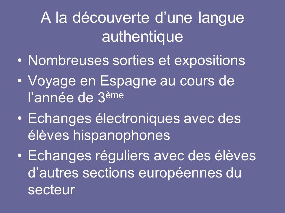 A la découverte dune langue authentique Nombreuses sorties et expositions Voyage en Espagne au cours de lannée de 3 ème Echanges électroniques avec de