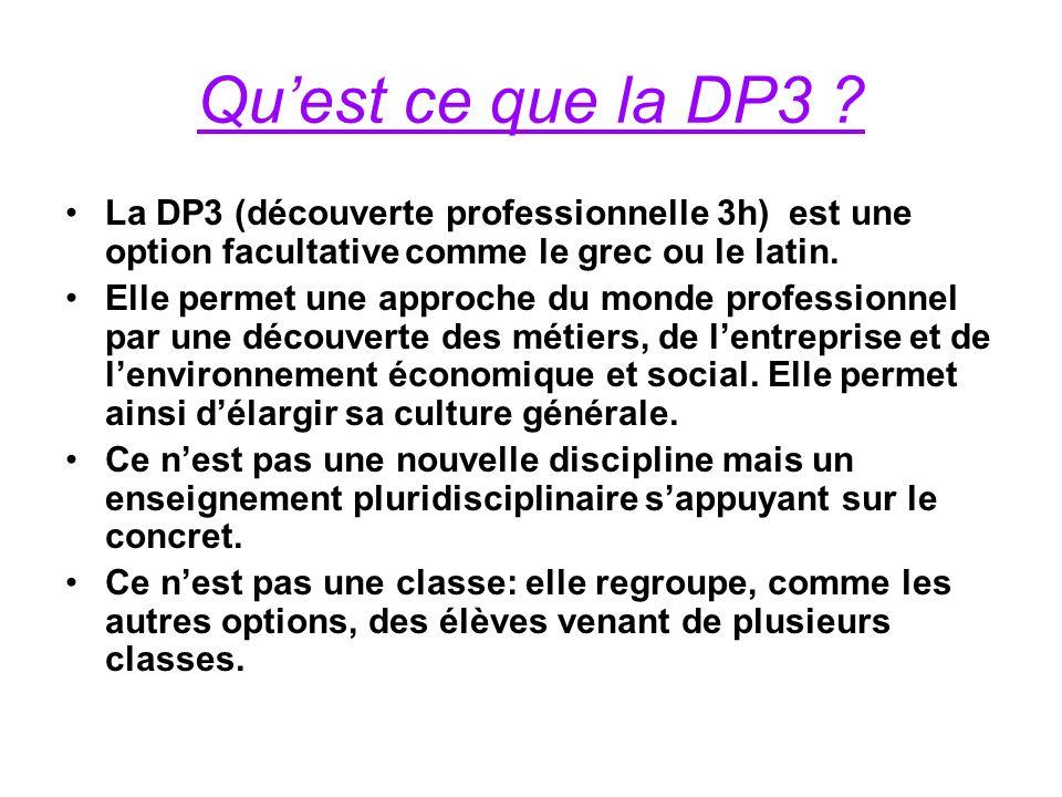 Quest ce que la DP3 ? La DP3 (découverte professionnelle 3h) est une option facultative comme le grec ou le latin. Elle permet une approche du monde p