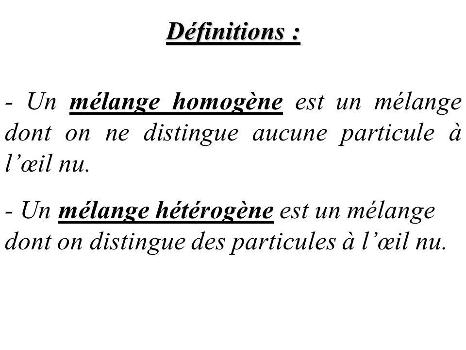 Définitions : - Un mélange homogène est un mélange dont on ne distingue aucune particule à lœil nu. - Un mélange hétérogène est un mélange dont on dis