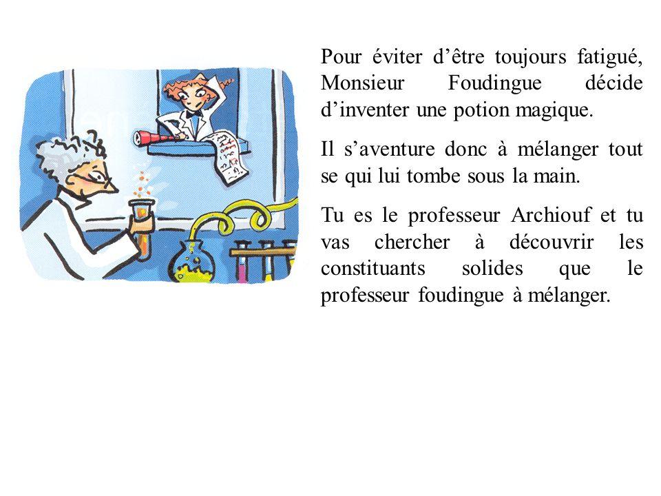 Pour éviter dêtre toujours fatigué, Monsieur Foudingue décide dinventer une potion magique. Il saventure donc à mélanger tout se qui lui tombe sous la