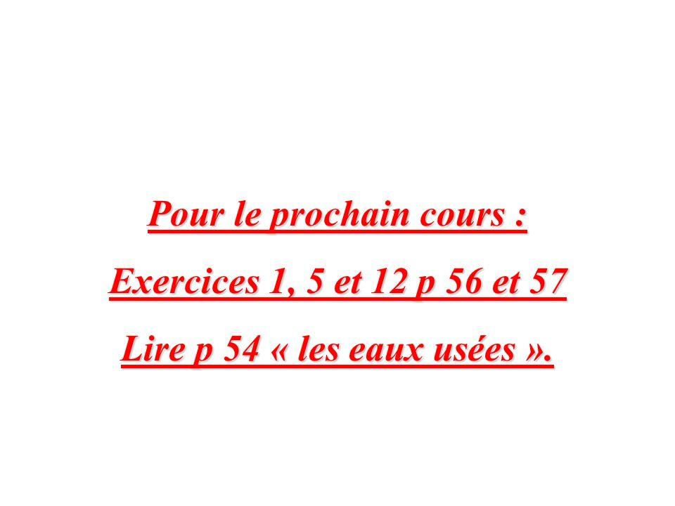 Pour le prochain cours : Exercices 1, 5 et 12 p 56 et 57 Lire p 54 « les eaux usées ».