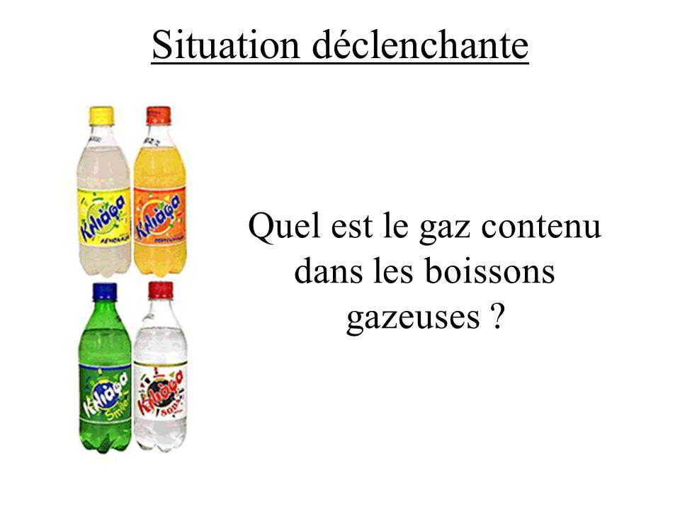 Situation déclenchante Quel est le gaz contenu dans les boissons gazeuses ?