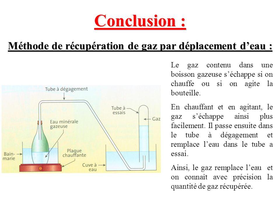 Conclusion : Méthode de récupération de gaz par déplacement deau : Le gaz contenu dans une boisson gazeuse séchappe si on chauffe ou si on agite la bo
