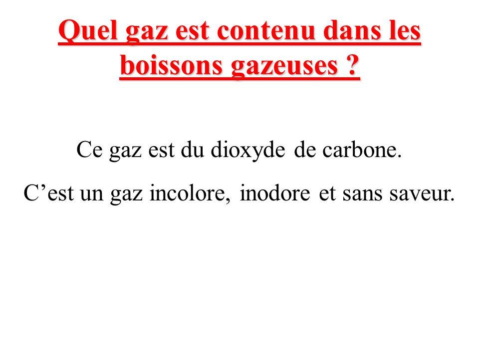 Quel gaz est contenu dans les boissons gazeuses ? Ce gaz est du dioxyde de carbone. Cest un gaz incolore, inodore et sans saveur.