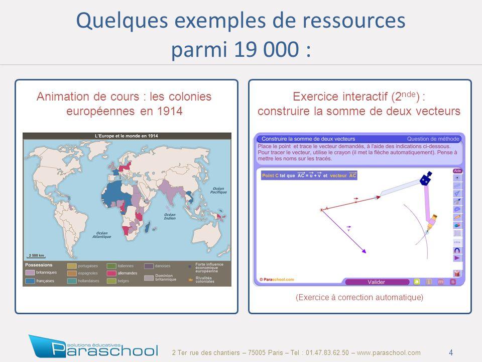 2 Ter rue des chantiers – 75005 Paris – Tel : 01.47.83.62.50 – www.paraschool.com Quelques exemples de ressources parmi 19 000 : 4 Animation de cours