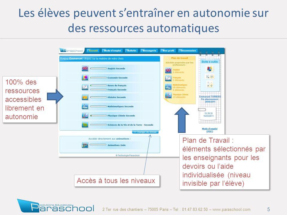 2 Ter rue des chantiers – 75005 Paris – Tel : 01.47.83.62.50 – www.paraschool.com Les élèves peuvent sentraîner en autonomie sur des ressources automa