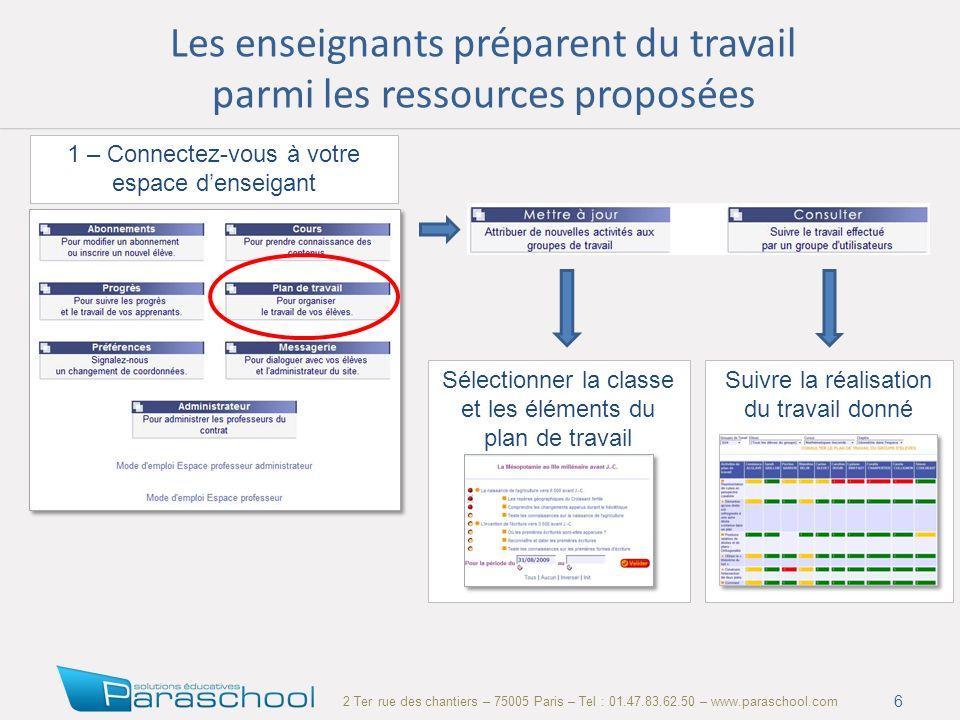 2 Ter rue des chantiers – 75005 Paris – Tel : 01.47.83.62.50 – www.paraschool.com Les enseignants préparent du travail parmi les ressources proposées