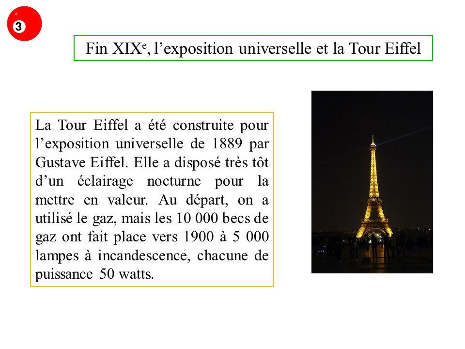 Fin XIX e, lexposition universelle et la Tour Eiffel La Tour Eiffel a été construite pour lexposition universelle de 1889 par Gustave Eiffel.