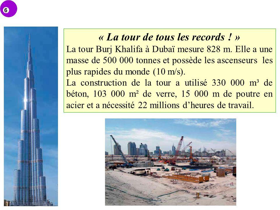 « La tour de tous les records ! » La tour Burj Khalifa à Dubaï mesure 828 m. Elle a une masse de 500 000 tonnes et possède les ascenseurs les plus rap