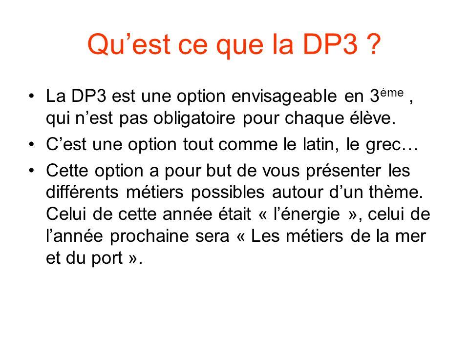 Quest ce que la DP3 ? La DP3 est une option envisageable en 3 ème, qui nest pas obligatoire pour chaque élève. Cest une option tout comme le latin, le