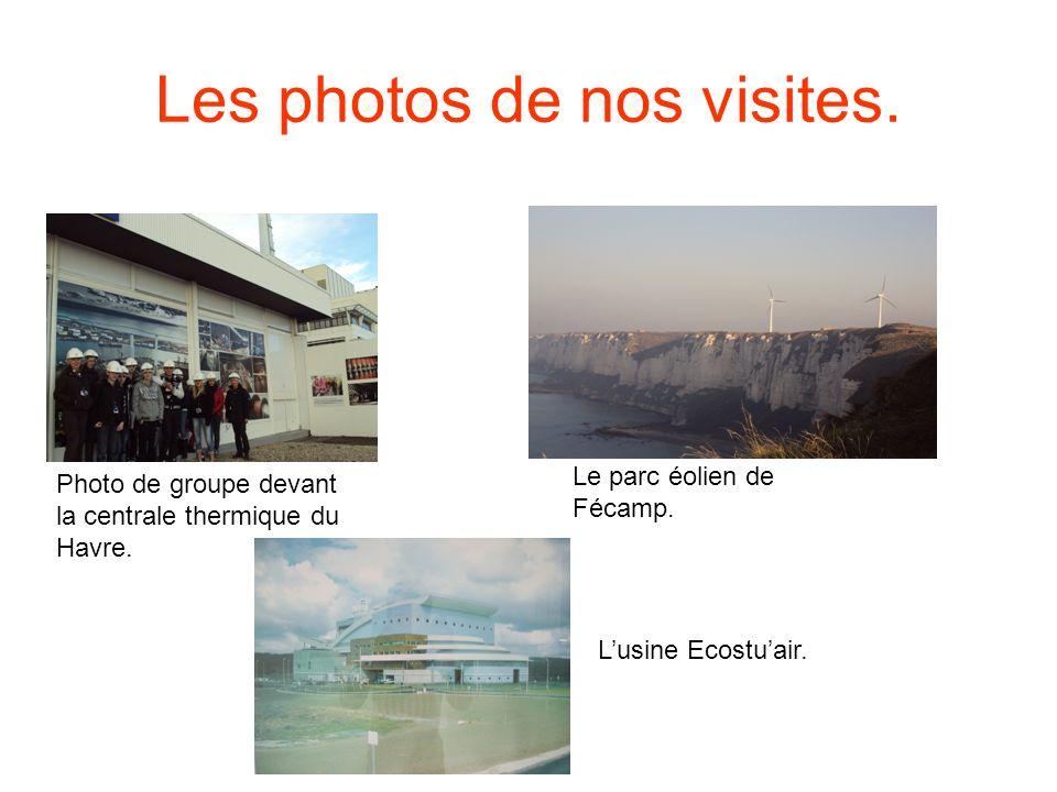 Les photos de nos visites. Photo de groupe devant la centrale thermique du Havre. Le parc éolien de Fécamp. Lusine Ecostuair.