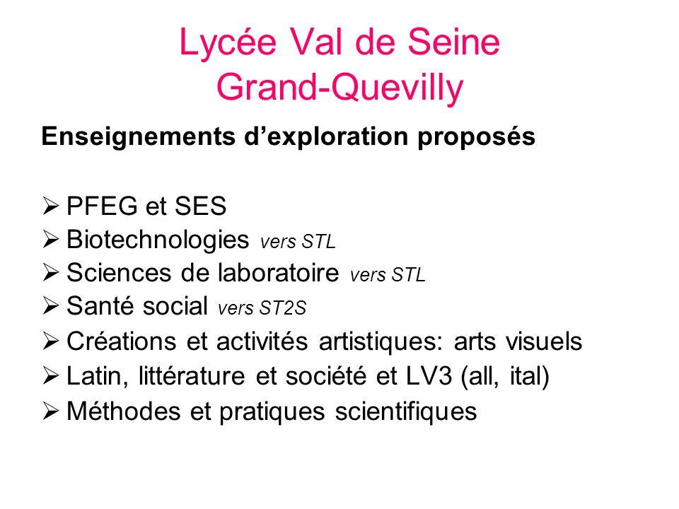 Lycée Val de Seine Grand-Quevilly Enseignements dexploration proposés PFEG et SES Biotechnologies vers STL Sciences de laboratoire vers STL Santé soci