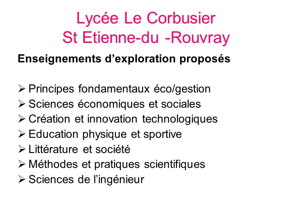 Lycée Le Corbusier St Etienne-du -Rouvray Enseignements dexploration proposés Principes fondamentaux éco/gestion Sciences économiques et sociales Créa