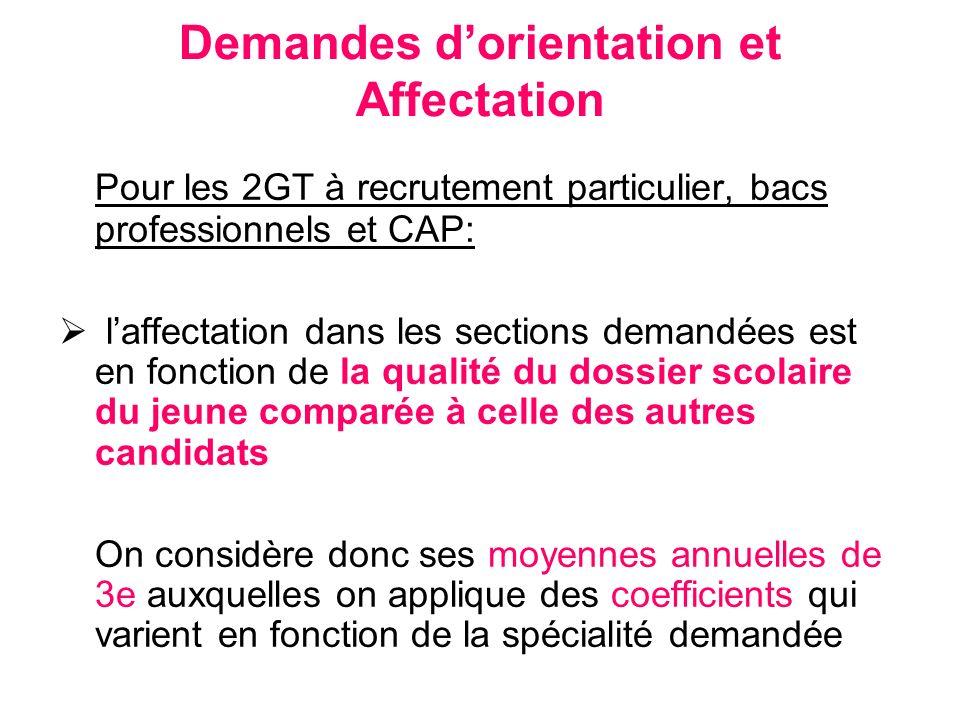 Demandes dorientation et Affectation Pour les 2GT à recrutement particulier, bacs professionnels et CAP: laffectation dans les sections demandées est