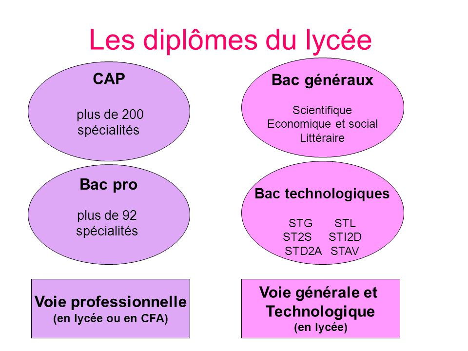 Les diplômes du lycée Bac pro plus de 92 spécialités CAP plus de 200 spécialités Bac technologiques STGSTL ST2SSTI2D STD2ASTAV Bac généraux Scientifiq