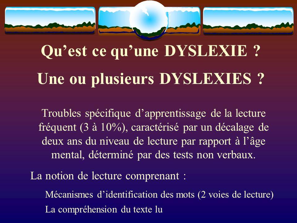 Quest ce quune DYSLEXIE ? Une ou plusieurs DYSLEXIES ? Troubles spécifique dapprentissage de la lecture fréquent (3 à 10%), caractérisé par un décalag