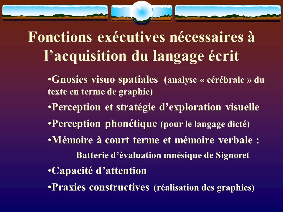 Fonctions exécutives nécessaires à lacquisition du langage écrit Gnosies visuo spatiales ( analyse « cérébrale » du texte en terme de graphie) Percept