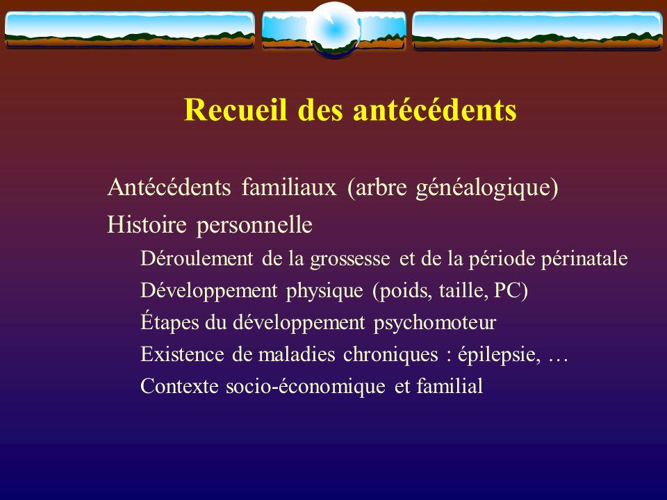 Recueil des antécédents Antécédents familiaux (arbre généalogique) Histoire personnelle Déroulement de la grossesse et de la période périnatale Dévelo