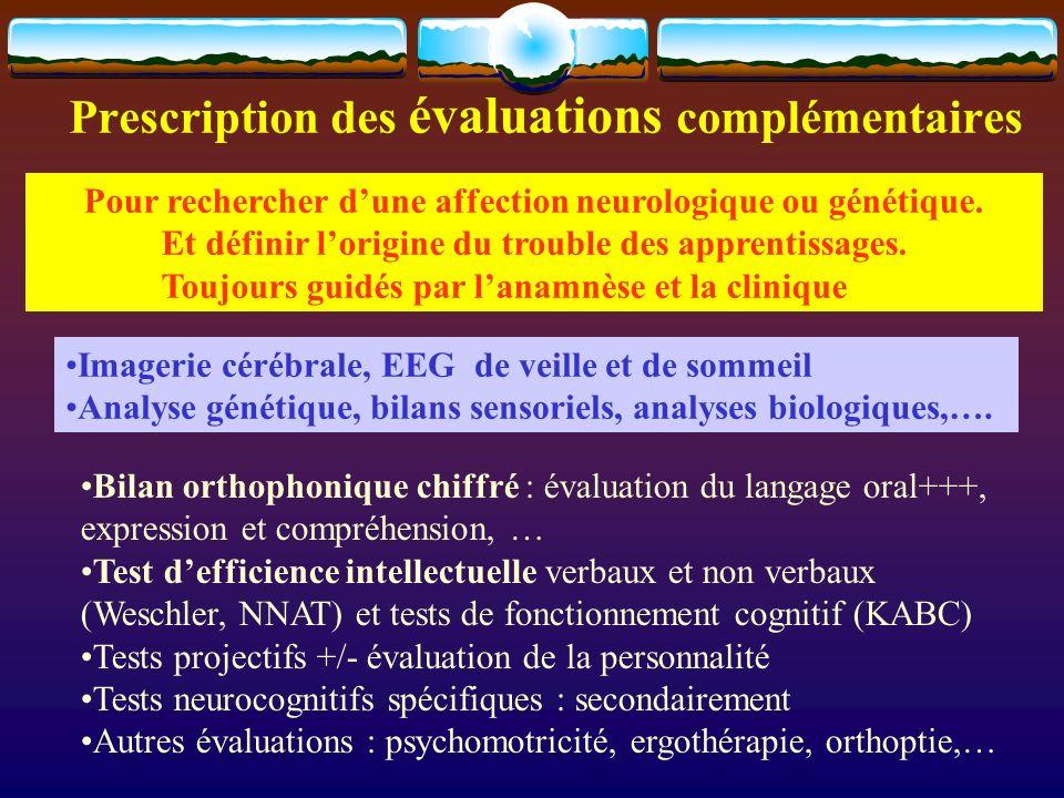 Prescription des évaluations complémentaires Imagerie cérébrale, EEG de veille et de sommeil Analyse génétique, bilans sensoriels, analyses biologique