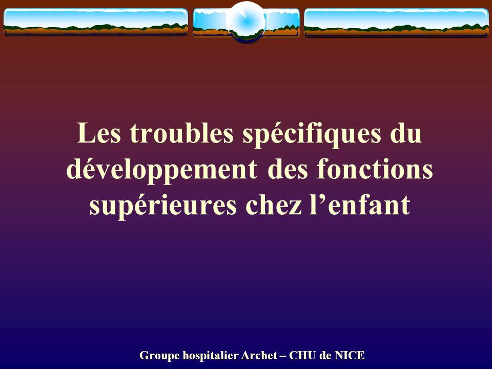 Groupe hospitalier Archet – CHU de NICE Les troubles spécifiques du développement des fonctions supérieures chez lenfant