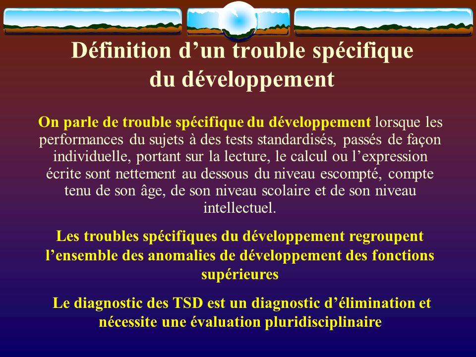 Définition dun trouble spécifique du développement On parle de trouble spécifique du développement lorsque les performances du sujets à des tests stan