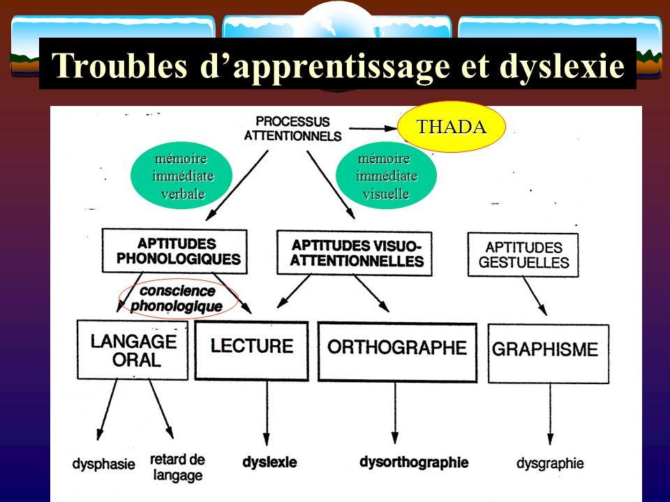 Troubles dapprentissage et dyslexie mémoire immédiate immédiate verbale verbalemémoireimmédiatevisuelle THADA