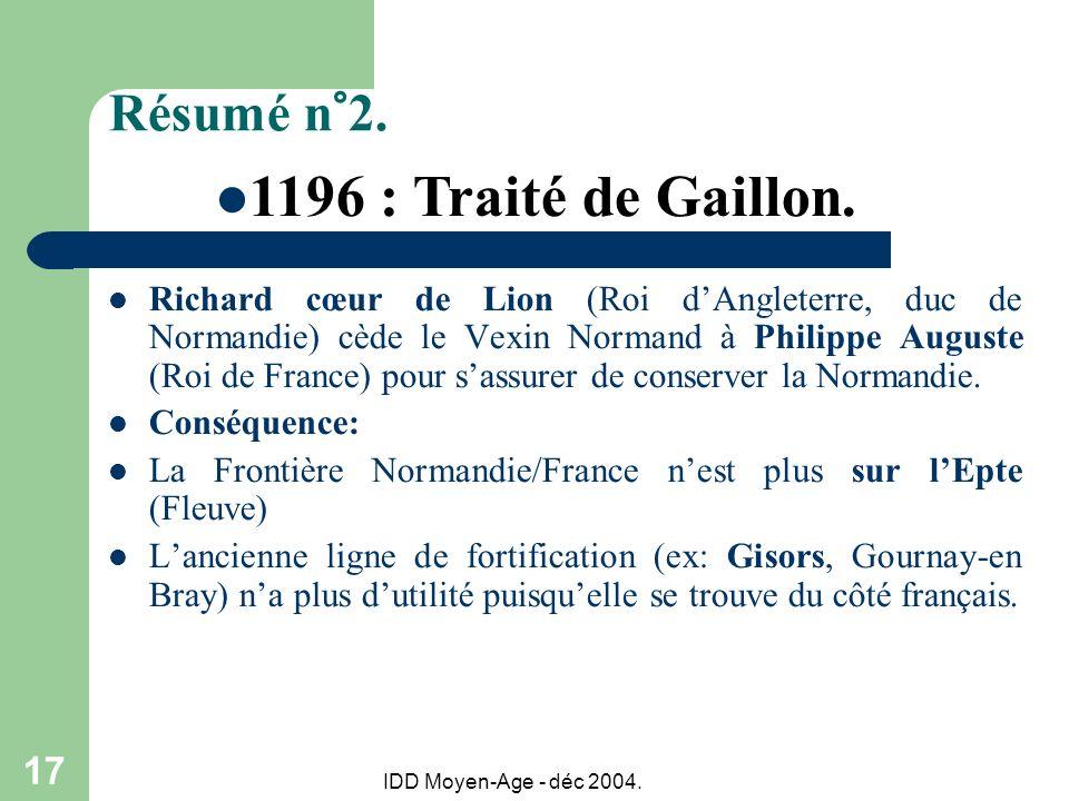 IDD Moyen-Age - déc 2004. 17 Résumé n°2. Richard cœur de Lion (Roi dAngleterre, duc de Normandie) cède le Vexin Normand à Philippe Auguste (Roi de Fra